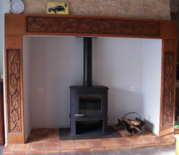 Poêle bois ALTECH accumulation, pierre, installation dans le LOT.